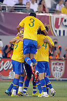 Brazil players celebrate a goal by Neymar (11). The men's national team of Brazil (BRA) defeated the United States (USA) 2-0 during an international friendly at the New Meadowlands Stadium in East Rutherford, NJ, on August 10, 2010.
