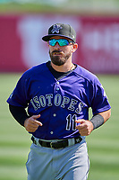 Peter Mooney (11) of the Albuquerque Isotopes before the game against the Salt Lake Bees at Smith's Ballpark on April 27, 2019 in Salt Lake City, Utah. The Isotopes defeated the Bees 10-7. This was a makeup game from April 26, 2019 that was cancelled due to rain. (Stephen Smith/Four Seam Images)