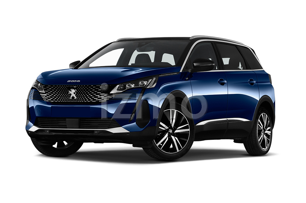 Stock pictures of low aggressive front three quarter view of 2021 Peugeot 5008 GT 5 Door SUV Low Aggressive