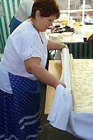 Women making Strudel from the Neszmely area. ( Retessutø Assonyok ) Hungarian Regional Gastronomic Festival 2009 - Gyor ( Gy?r ) Hungary