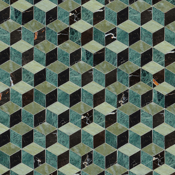 Euclid, a hand-cut stone mosaic, shown in polished Verde Luna, Spring Green and Saint Laurent, is part of the Illusions™ Collection by New Ravenna.