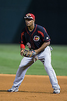 Rochester Red Wings first baseman Reynaldo Rodriguez (23) on defense against the Charlotte Knights at BB&T BallPark on August 8, 2015 in Charlotte, North Carolina.  The Red Wings defeated the Knights 3-0.  (Brian Westerholt/Four Seam Images)