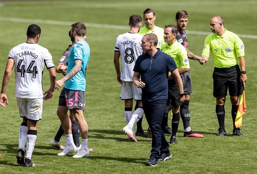 Swansea City's manager Steve Cooper at the end of the match<br /> <br /> Photographer Andrew Kearns/CameraSport<br /> <br /> The EFL Sky Bet Championship - Swansea City v Leeds United - Sunday 12th July 2020 - Liberty Stadium - Swansea<br /> <br /> World Copyright © 2020 CameraSport. All rights reserved. 43 Linden Ave. Countesthorpe. Leicester. England. LE8 5PG - Tel: +44 (0) 116 277 4147 - admin@camerasport.com - www.camerasport.com