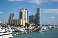 Miami, Florida.  South Beach Boats and Condominiums.