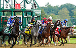 August 07, 2021: By My Standards #1, ridden by jockey Gabe Saez stumbles to his knees at the start of the $1 million Whitney Stakes (Grade 1) at Saratoga Race Course in Saratoga Springs, N.Y. on August 7, 2021. Dan Heary/Eclipse Sportswire/CSM