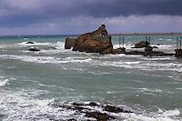 France, Aquitaine, Pyrénées-Atlantiques, Pays Basque,  Biarritz: Le Rocher de la Vierge //  France, Pyrenees Atlantiques, Basque Country, Biarritz: Rock of the Virgin Mary