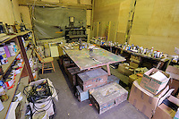 Pictured: Different types of materials in the artist's studio Friday 02 December 2016<br /> The Sidney Nolan Trust, Rodd, Herefordshire, England, UK