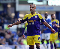 Pictured: Wayne Routledge of Swansea. Sunday 16 February 2014<br /> Re: FA Cup, Everton v Swansea City FC at Goodison Park, Liverpool, UK.