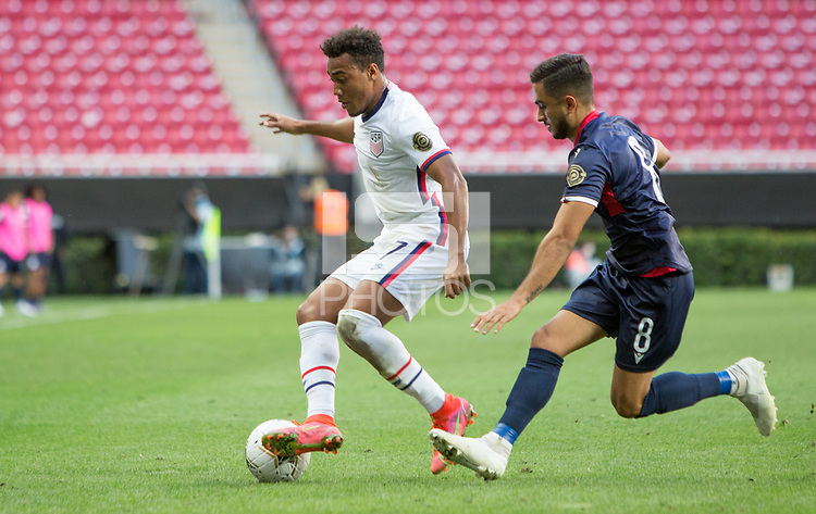 ZAPOPAN, MEXICO - MARCH 21: Jonathan Lewis #7 of the United States dribbles with the ball during a game between Dominican Republic and USMNT U-23 at Estadio Akron on March 21, 2021 in Zapopan, Mexico.