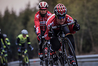 Tim Wellens (BEL/Lotto Soudal) in the drops<br /> <br /> Team Lotto-Soudal at the Liège-Bastogne-Liège 2017 recon