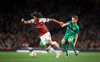 Mohamed Elneny of Arsenal & Dmytro Kravchenko of Vorskla Poltava during the UEFA Europa League match group between Arsenal and Vorskla Poltava at the Emirates Stadium, London, England on 20 September 2018. Photo by Andrew Aleksiejczuk / PRiME Media Images.