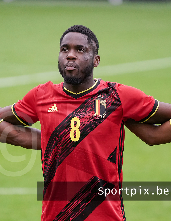 Orel Mangala (8) during the national anthem before a soccer game between the national teams Under21 Youth teams of Belgium and Germany on the 5th matday in group 9 for the qualification for the Under 21 EURO 2021 , on tuesday 8 th of September 2020  in Leuven , Belgium . PHOTO SPORTPIX.BE | SPP | SEVIL OKTEM