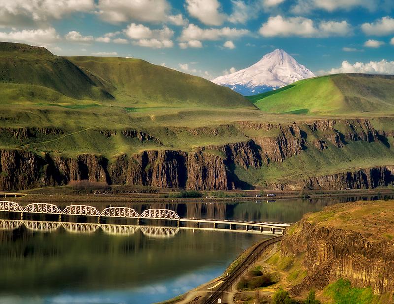 Train bridge over Columbia River with Mt. Hood. Near Wishram, Washington