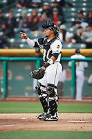 Jose Briceno (10) of the Salt Lake Bees on defense against the Albuquerque Isotopes at Smith's Ballpark on April 5, 2018 in Salt Lake City, Utah. Salt Lake defeated Albuquerque 9-3. (Stephen Smith/Four Seam Images)