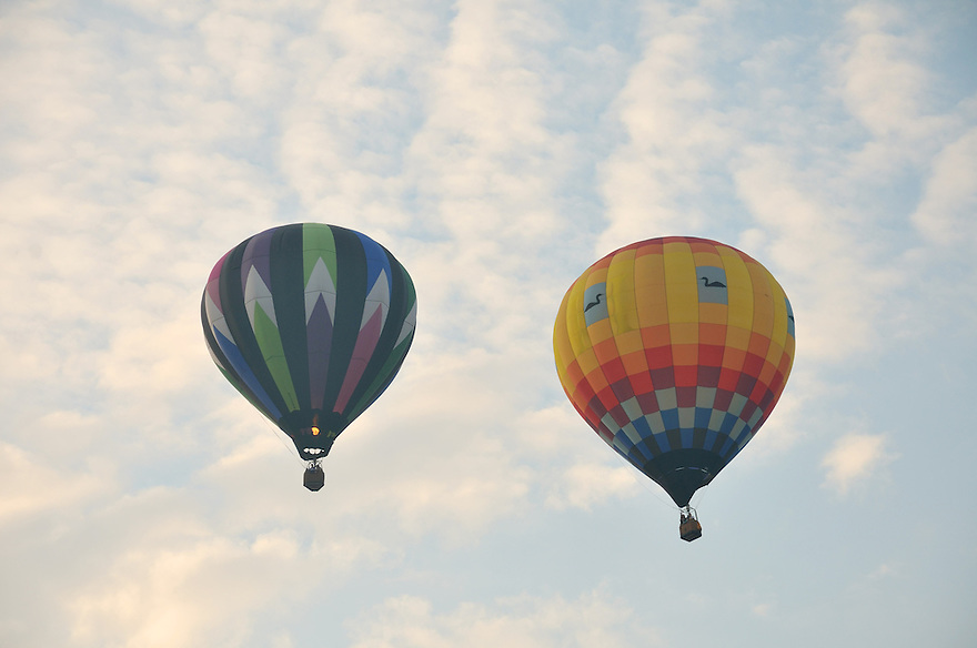 By pairs the balloons float away into the pale morning sky.
