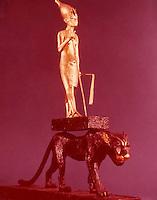 Egypt:  King upon a Leopard--gilded wood.  Treasures of Tutankhamun, Cairo Museum.  MMA 1976.