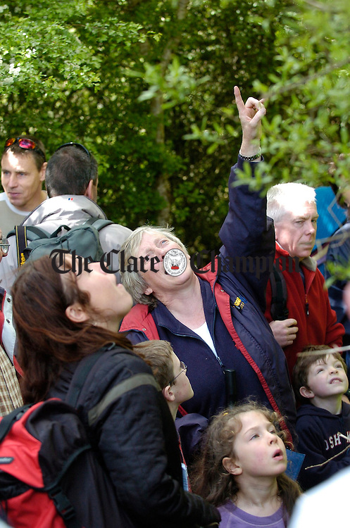 Eanna Ni Lamhna takes a group on a wildlife walk during Clare Biodiversity day in Dromore wood. Photograph by John Kelly.