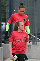 goalkeeper Nicky Evrard (21) of Belgium and goalkeeper Lisa Lichtfus of Belgium  pictured entering the pitch during the warming up of a friendly female soccer game between the national teams of Luxemburg and Belgium , called the Red Flames  in a preparation towards the qualification for the  FIFA Women's World Cup , on saturday 12 th of June 2021  in Wiltz , Luxemburg . PHOTO SPORTPIX BE   SPP   SEVIL OKTEM