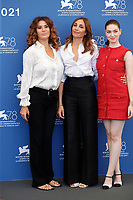 """VENICE, ITALY - SEPTEMBER 06: Lucy De Crescenzo, Director Audrey Diwan and Anamaria Vartolomei attend the photocall of """"L'Evenement"""" during the 78th Venice International Film Festival on September 06, 2021 in Venice, Italy. <br /> CAP/GOL<br /> ©GOL/Capital Pictures"""