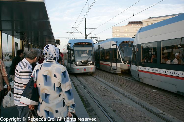Trams at Eminonu Istanbul, Turkey
