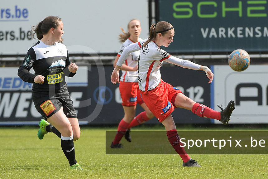 Sheryl Merchiers (11) of Zulte Waregem and Valentine Hannecart 8) of Eendrcht Aalst pictured during a female soccer game between Eendracht Aalst and SV Zulte Waregem on the fourth matchday of play off 2 of the 2020 - 2021 season of Belgian Scooore Womens Super League , Saturday 1 st of May 2021  in Aalst , Belgium . PHOTO SPORTPIX.BE | SPP | DIRK VUYLSTEKE