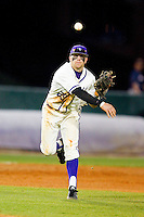 High Point Panthers third baseman Adam Barry (29) makes a throw to first base against the Liberty Flames at Willard Stadium on March 23, 2013 in High Point, North Carolina.  The Panthers defeated the Flames 9-3.  (Brian Westerholt/Four Seam Images)