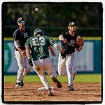 Devin Buckner (23) of the University of South Carolina Upstate Spartans Green team is out at second as Cameron MacIntosh (8) throws to first in the Green and Black Fall World Series Game 3 on Sunday, November 1, 2020, at Cleveland S. Harley Park in Spartanburg, South Carolina. Green won, 3-2. (Tom Priddy/Four Seam Images)