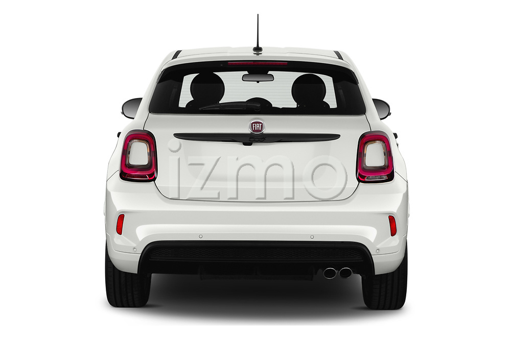 Straight rear view of 2020 Fiat 500X Sport 5 Door SUV Rear View  stock images