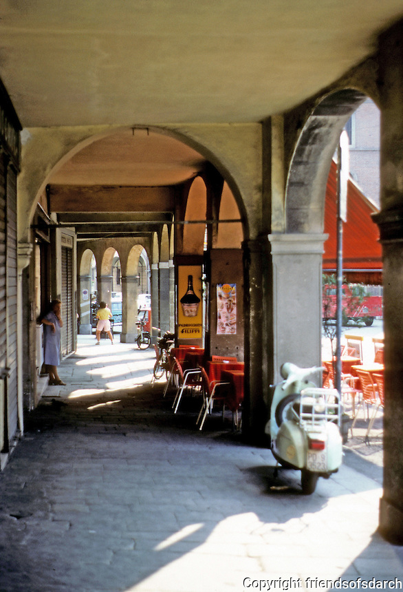 Italy: Padua--Outdoor Cafe & Loggia. Via Beato Luca Belludi, near Basilica. Photo '83.