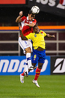 Marcos Gonzalez (3) of Chile and Narciso Mina (8) of Ecuador go up for a header. Ecuador defeated Chile 3-0 during an international friendly at Citi Field in Flushing, NY, on August 15, 2012.