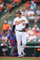 Baltimore Orioles first baseman Trey Mancini (67) at bat during a Spring Training exhibition game against the Dominican Republic on March 7, 2017 at Ed Smith Stadium in Sarasota, Florida.  Baltimore defeated the Dominican Republic 5-4.  (Mike Janes/Four Seam Images)