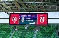 AUSTIN, TX - JUNE 16: AT&T sponsors before a game between Nigeria and USWNT at Q2 Stadium on June 16, 2021 in Austin, Texas.