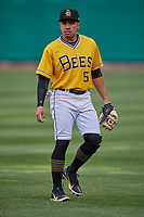 Kean Wong (5) of the Salt Lake Bees on defense against the Tacoma Rainiers at Smith's Ballpark on May 16, 2021 in Salt Lake City, Utah. The Bees defeated the Rainiers 8-7. (Stephen Smith/Four Seam Images)