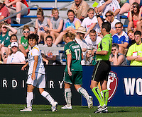 Los Angeles Sol midfielder Aya Miyama (8) receives a yellow card after taking down St Louis Athletica midfielder Lori Chalupny (17) during a WPS match at Hermann Stadium, in St. Louis, MO, April 25 2009. The match ended in a 0-0 tie.