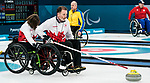 PyeongChang 14/3/2018 - Alternate Jamie Anseeuw draws into the game as Canada takes on Slovakia in wheelchair curling at the Gangneung Curling Centre during the 2018 Winter Paralympic Games in Pyeongchang, Korea. Photo: Dave Holland/Canadian Paralympic Committee
