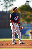 Lowell Spinners third baseman Aneudis Peralta (5) during a game against the Batavia Muckdogs on August 12, 2015 at Dwyer Stadium in Batavia, New York.  Batavia defeated Lowell 6-4.  (Mike Janes/Four Seam Images)