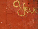 A bit of graffiti in gold on a wall painted with a warm brown-orange color. At first sight it looks like it says 'You', but it's actually part of some text in an an Indian script. Found in Panaji, the capital of Goa, India.