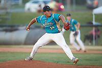 Mooresville Spinners relief pitcher Javier Martinez (54) (Catawba Valley CC) in action against the Dry Pond Blue Sox at Moor Park on July 2, 2020 in Mooresville, NC.  The Spinners defeated the Blue Sox 9-4. (Brian Westerholt/Four Seam Images)