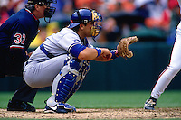 SAN FRANCISCO, CA - Mike Piazza of the Los Angeles Dodgers catches during a game against the San Francisco Giants at Candlestick Park in San Francisco, Californiaon April 17, 1996. (Photo by Brad Mangin)