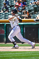 Josh Rutledge (8) of the Salt Lake Bees at bat against the El Paso Chihuahuas in Pacific Coast League action at Smith's Ballpark on July 26, 2015 in Salt Lake City, Utah. El Paso defeated Salt Lake 6-3 in 10 innings. (Stephen Smith/Four Seam Images)