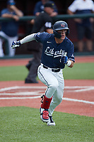 Will Wagner (17) of the Liberty Flames hustles down the first base line against the Bellarmine Knights at Liberty Baseball Stadium on March 9, 2021 in Lynchburg, VA. (Brian Westerholt/Four Seam Images)