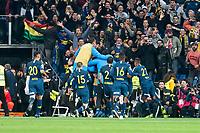 Boca Juniors Agustin Heredia, Wilmar Barrios, Cristian Pavon and Frank Fabra celebrating a goal during  Commebol Final Match between River Plate and Boca Juniors at Santiago Bernabeu Stadium in Madrid, Spain. December 09, 2018. (ALTERPHOTOS/Borja B.Hojas) /NortePhoto.com