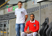 Pictured: Angel Rangel and Kemy Agustien<br /> Re: Swansea City FC squad photo-shoot at the Liberty Stadium, south Wales.