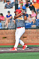 Johnson City Cardinals first baseman Leandro Cedeno (5) swings at a pitch during a game against the Pulaski Yankees at TVA Credit Union Ballpark on July 7, 2018 in Johnson City, Tennessee. The Cardinals defeated the Yankees 7-3. (Tony Farlow/Four Seam Images)