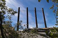 Four smokestacks loom over the Kennicott Mine power plant.