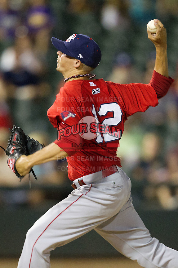 Oklahoma City RedHawks pitcher Mickey Story #12 delivers during the Pacific Coast League baseball game against the Round Rock Express on June 15, 2012 at the Dell Diamond in Round Rock, Texas. The Express shutout the RedHawks 2-1. (Andrew Woolley/Four Seam Images).