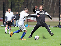 Thursday 11 April 2013<br /> Pictured L-R: Swansea City FC programme editor Ben Donovan against assistant manager Morten Wieghorst.<br /> Re: Friendly game, Swansea City FC coaching staff v sports reporters at the Swansea City FC training ground. Final score 10-4.