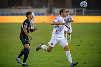 SAN JOSE, CA - SEPTEMBER 13: Nick DePuy #20 of the Los Angeles Galaxy during a game between Los Angeles Galaxy and San Jose Earthquakes at Earthquakes Stadium on September 13, 2020 in San Jose, California.
