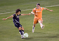 LA Sol's Han Duan clears a ball from attacking Sky Blue FC forward Heather O'Reilly. The LA Sol defeated Sky Blue FC 1-0 at Home Depot Center stadium in Carson, California on Friday May 15, 2009.   .