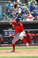 Lakewood BlueClaws catcher Edgar Cabral (30) at bat during a game against the Charleston RiverDogs on May 3, 2017 at Joseph P. Riley Ballpark in Charleston, South Carolina. Lakewood defeated Charleston 10-6. (Robert Gurganus/Four Seam Images)